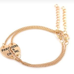 Jewelry - Gold partners in crime best friend bracelets